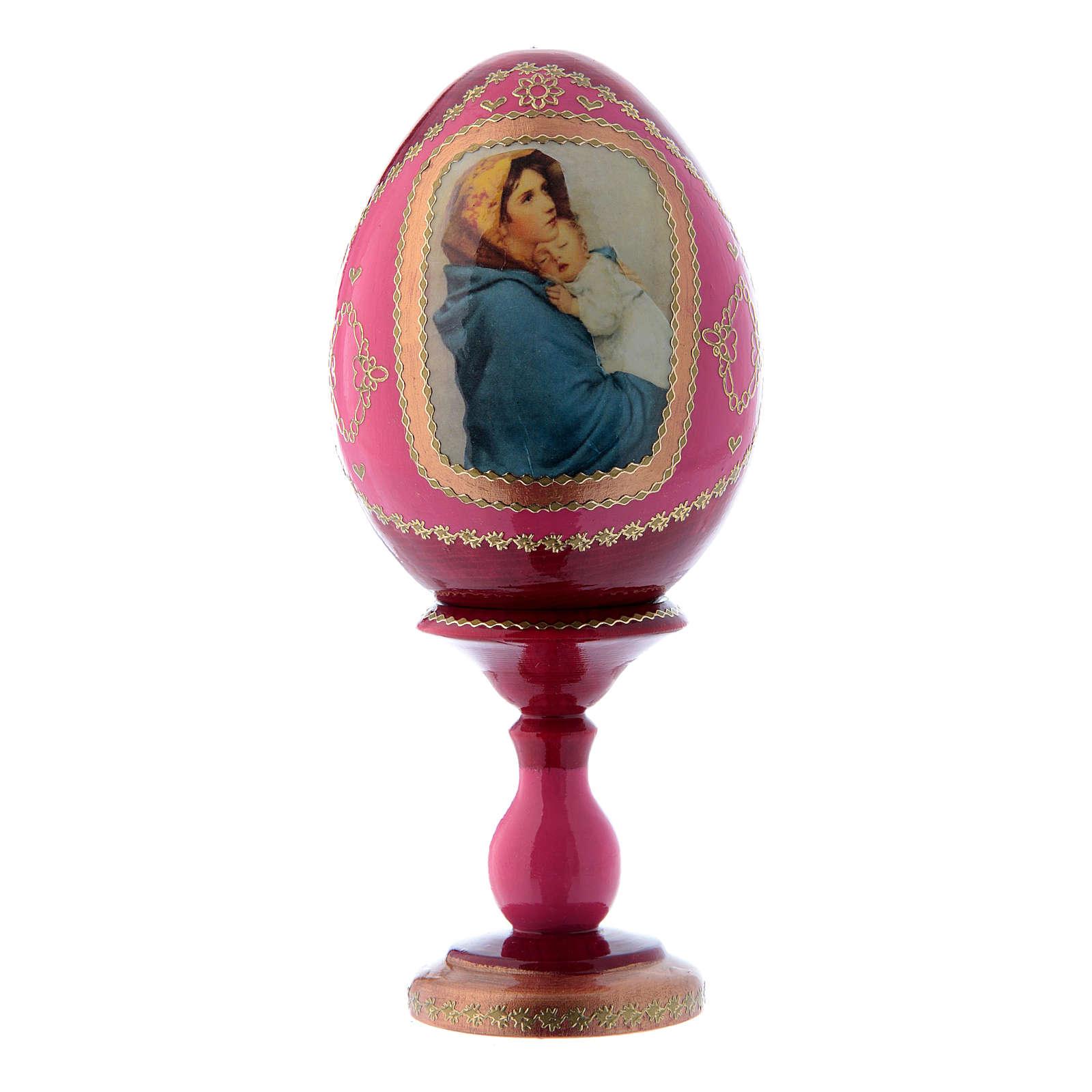Uovo rosso in legno russo stile Fabergè La Madonnina h tot 16 cm 4