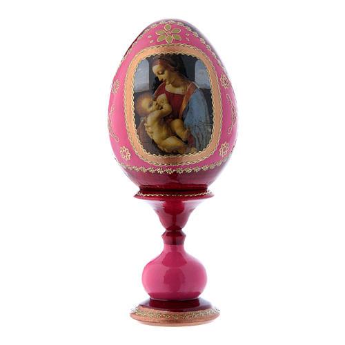 Uovo russo rosso découpage in legno La Madonna Litta h tot 16 cm 1