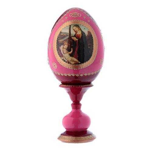 Huevo de madera rojo ruso estilo Fabergé Virgen con Niño y San Juanito h tot 16 cm 1