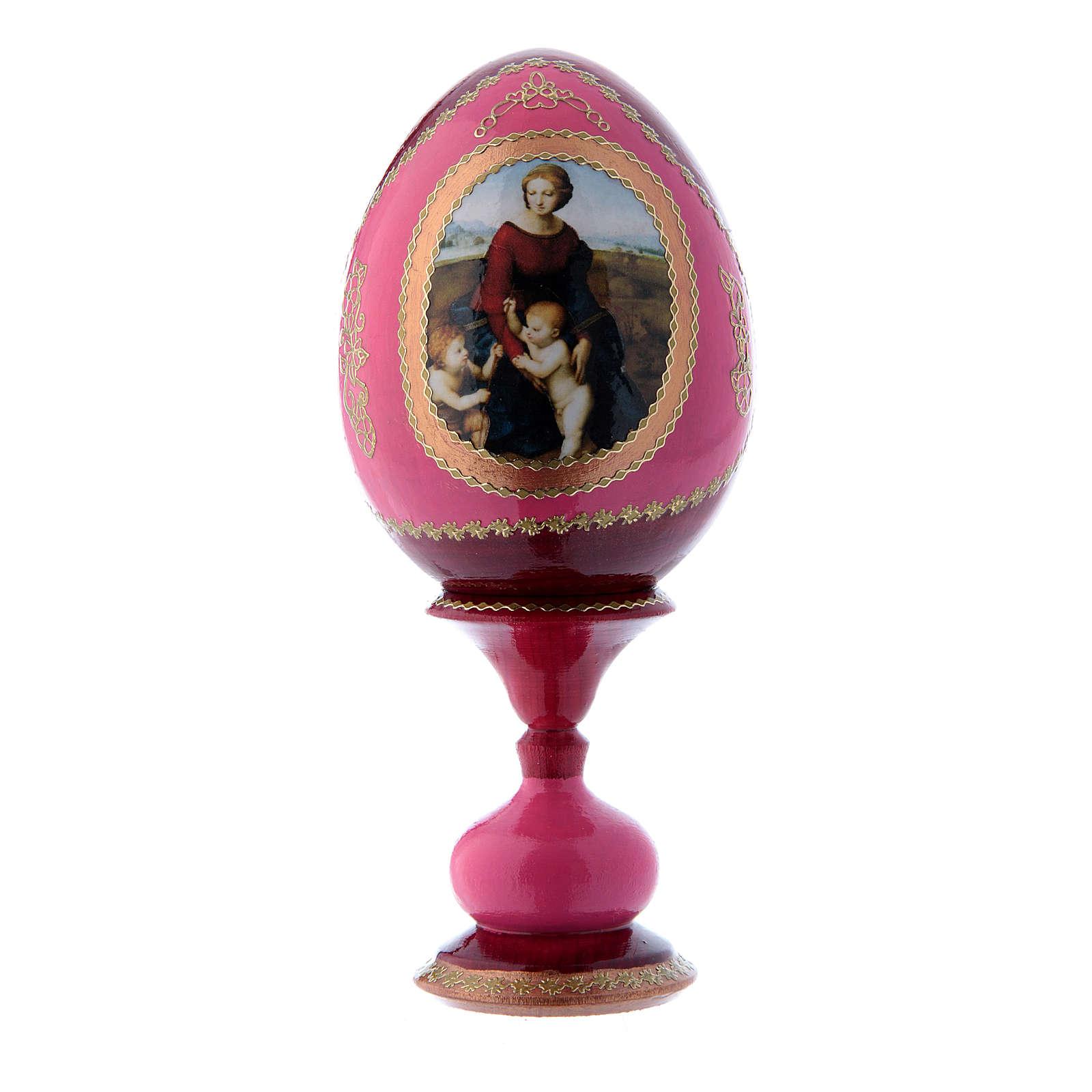 Uovo russo rosso decorato a mano La Madonna del Belvedere h tot 16 cm 4