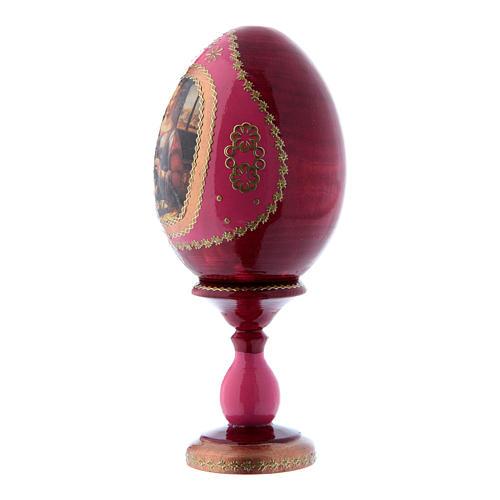Oeuf icône russe découpage La Vierge à la grenade rouge en bois h tot 16 cm