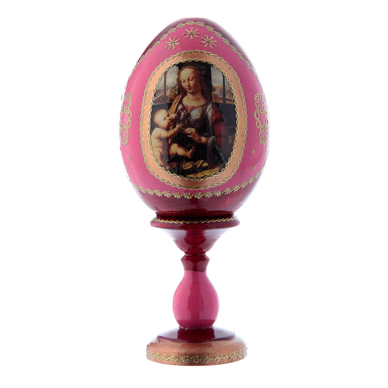 Uovo icona russa découpage La Madonna col Bambino rosso in legno h tot 16 cm 4