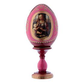 Uovo icona russa découpage La Madonna col Bambino rosso in legno h tot 16 cm s1