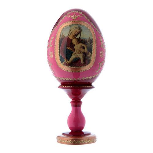 Uovo stile Fabergè rosso in legno russo decorato a mano Madonna con Bambino h tot 16 cm 1