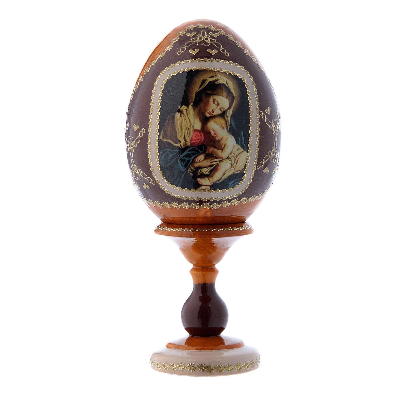 Uovo russo giallo in legno decorato a mano Madonna col Bambino h tot 16 cm 4