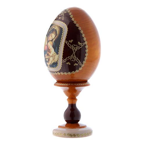 Uovo russo giallo in legno decorato a mano Madonna col Bambino h tot 16 cm 2