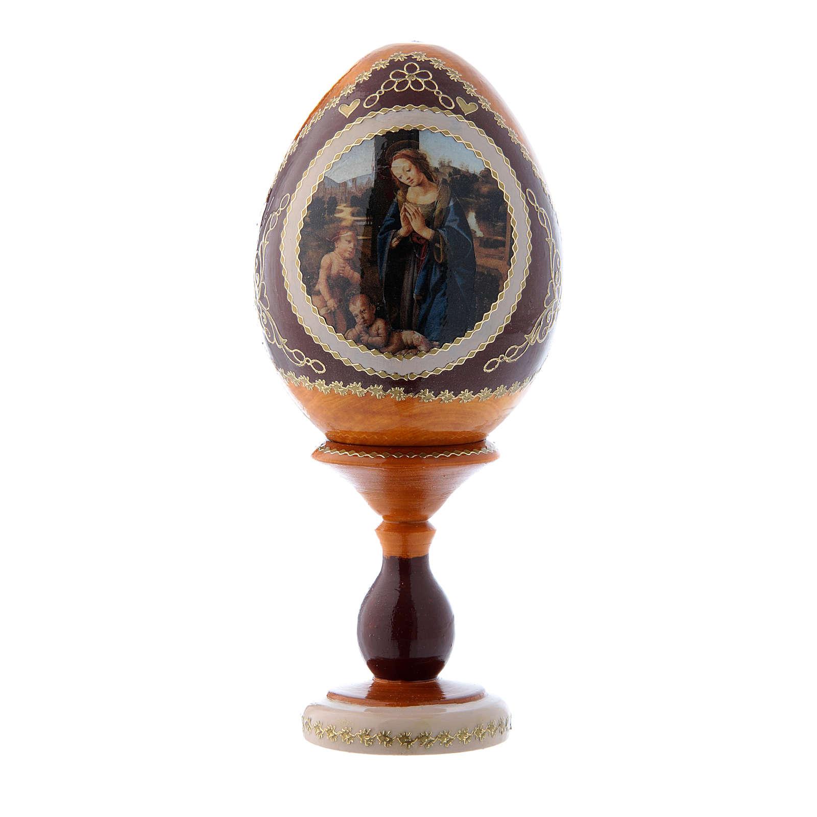 Uovo russo giallo stile Fabergè Adorazione del Bambino con San Giovannino h tot 16 cm 4