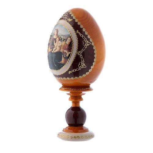 Uovo giallo in legno decorato a mano russo Madonna col Bambino S. Giovannino e Angeli h tot 16 cm 2