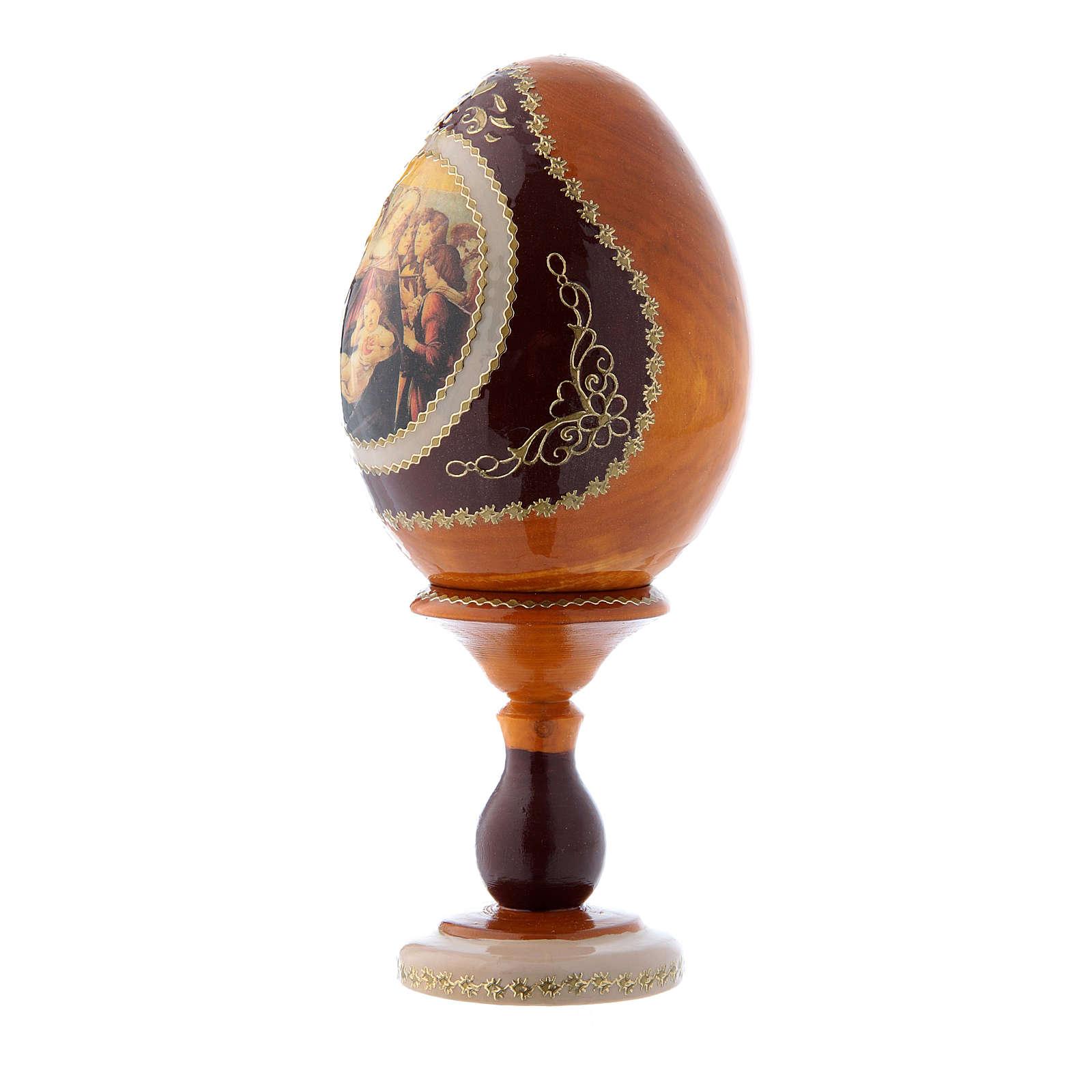 Uovo icona russa stile Fabergè giallo La Madonna della melagrana h tot 16 cm 4