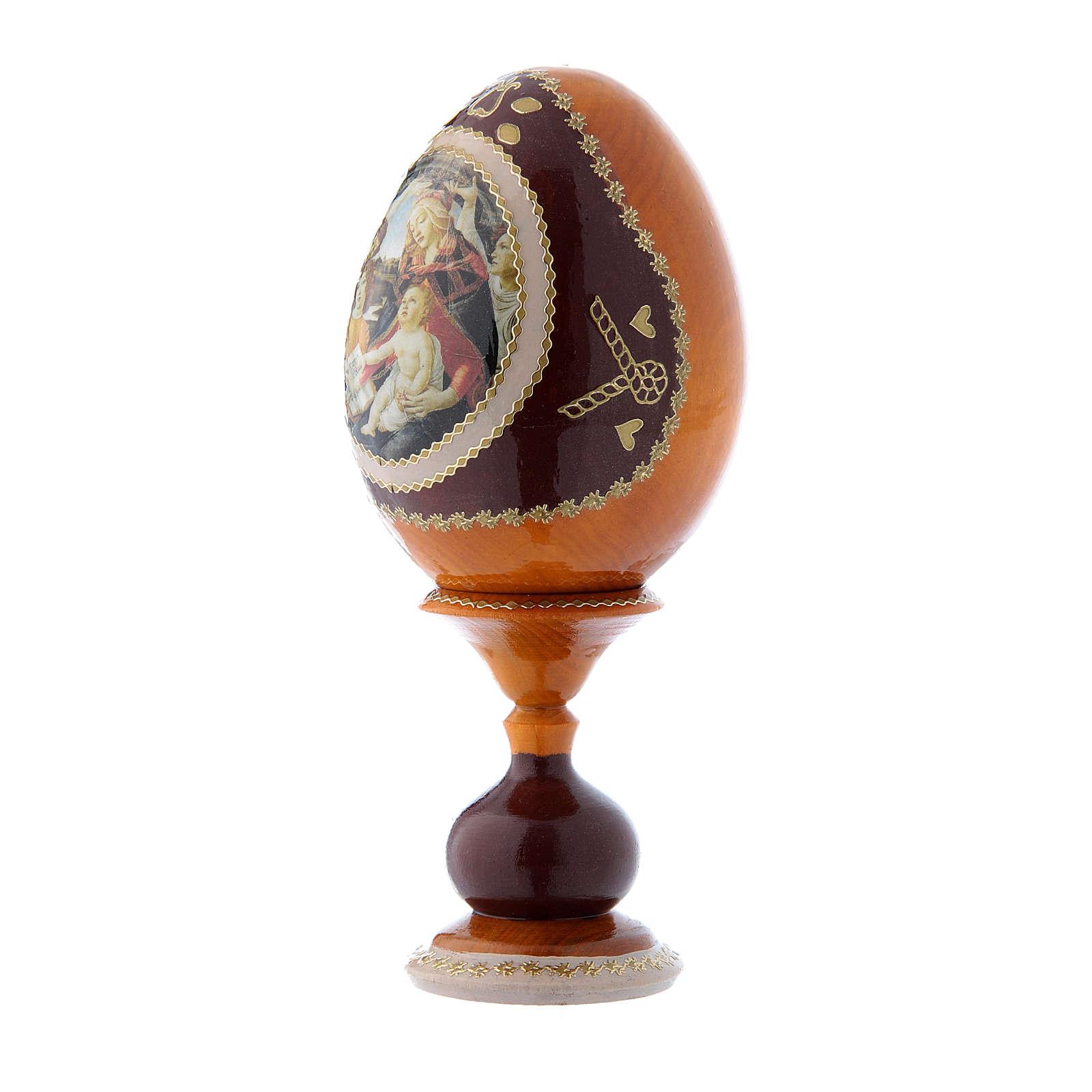 Oeuf russe La Madone du Magnificat jaune décoré main h tot 16 cm 4