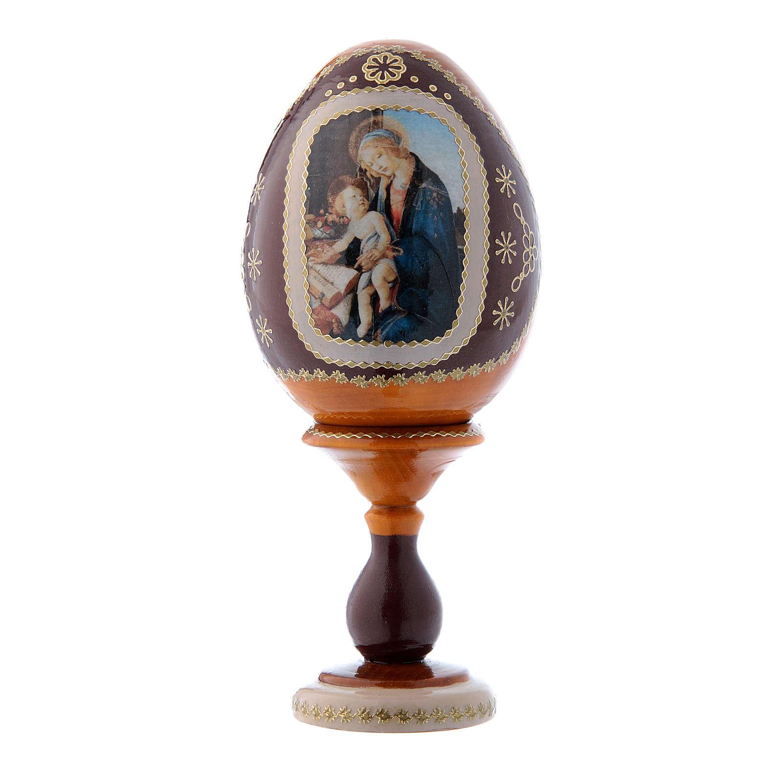 Uovo La Madonna del Libro giallo in legno russo h tot 16 cm 4