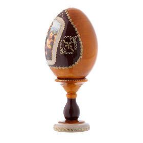 Uovo giallo russo decorato a mano La Madonna dei Fusi h tot 16 cm s2