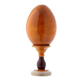 Uovo giallo russo decorato a mano La Madonna dei Fusi h tot 16 cm s3