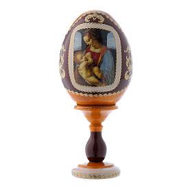 Uovo russo La Madonna Litta giallo in legno h tot 16 cm s1