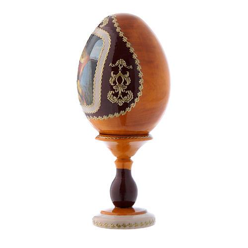 Uovo russo La Madonna Litta giallo in legno h tot 16 cm 2