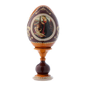 Uovo icona russa Madonna con Bambino e San Giovannino giallo decorato a mano h tot 16 cm s1