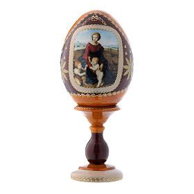 Uovo La Madonna del Belvedere russo giallo in legno découpage h tot 16 cm s1