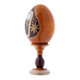 Uovo La Madonna del Belvedere russo giallo in legno découpage h tot 16 cm s2