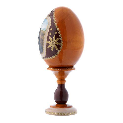 Uovo La Madonna del Belvedere russo giallo in legno découpage h tot 16 cm 2