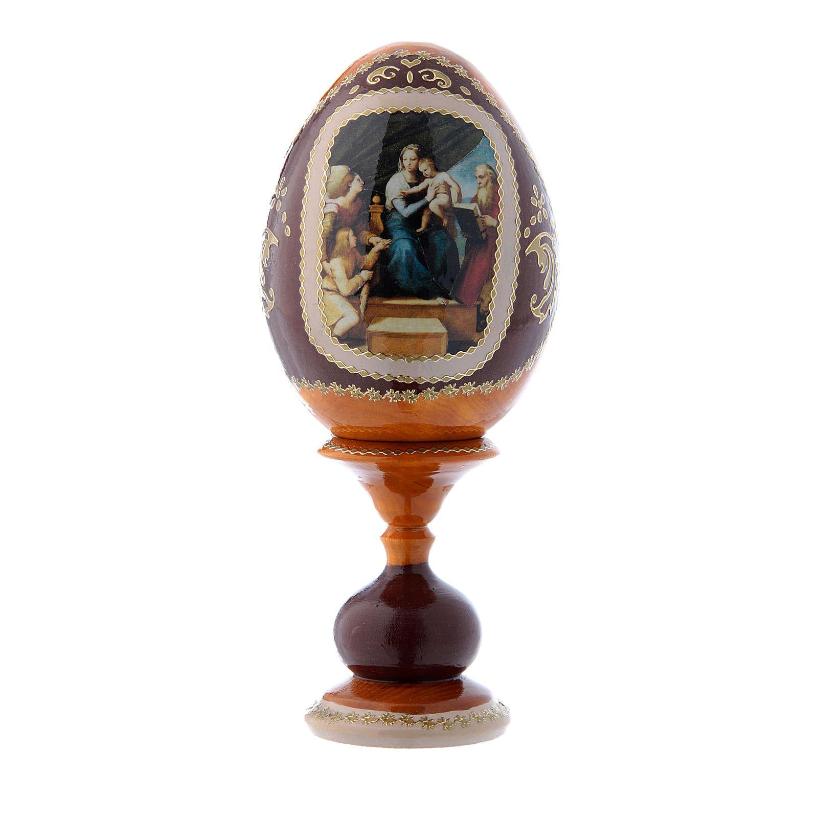 Uovo russo stile Fabergè giallo La Madonna del Pesce h tot 16 cm 4