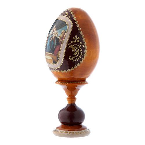 Uovo russo stile Fabergè giallo La Madonna del Pesce h tot 16 cm 2