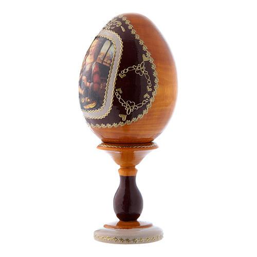 Uovo russo stile Fabergè La Madonna col Bambino giallo in legno h tot 16 cm 2