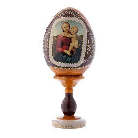 Uovo icona russa La Piccola Madonna Cowper giallo h tot 16 cm s1