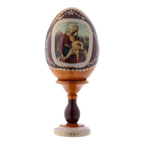 Oeuf russe jaune en bois découpage Vierge à l'Enfant h tot 16 cm