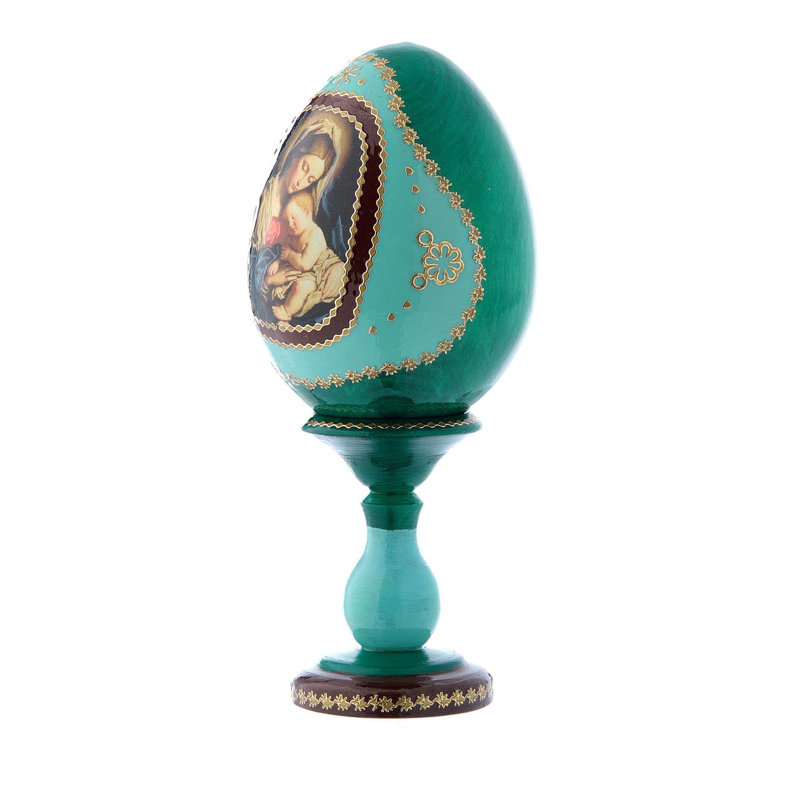 Uovo russo verde in legno decorato a mano Madonna col Bambino h tot 16 cm 4