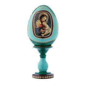 Uovo russo verde in legno decorato a mano Madonna col Bambino h tot 16 cm s1