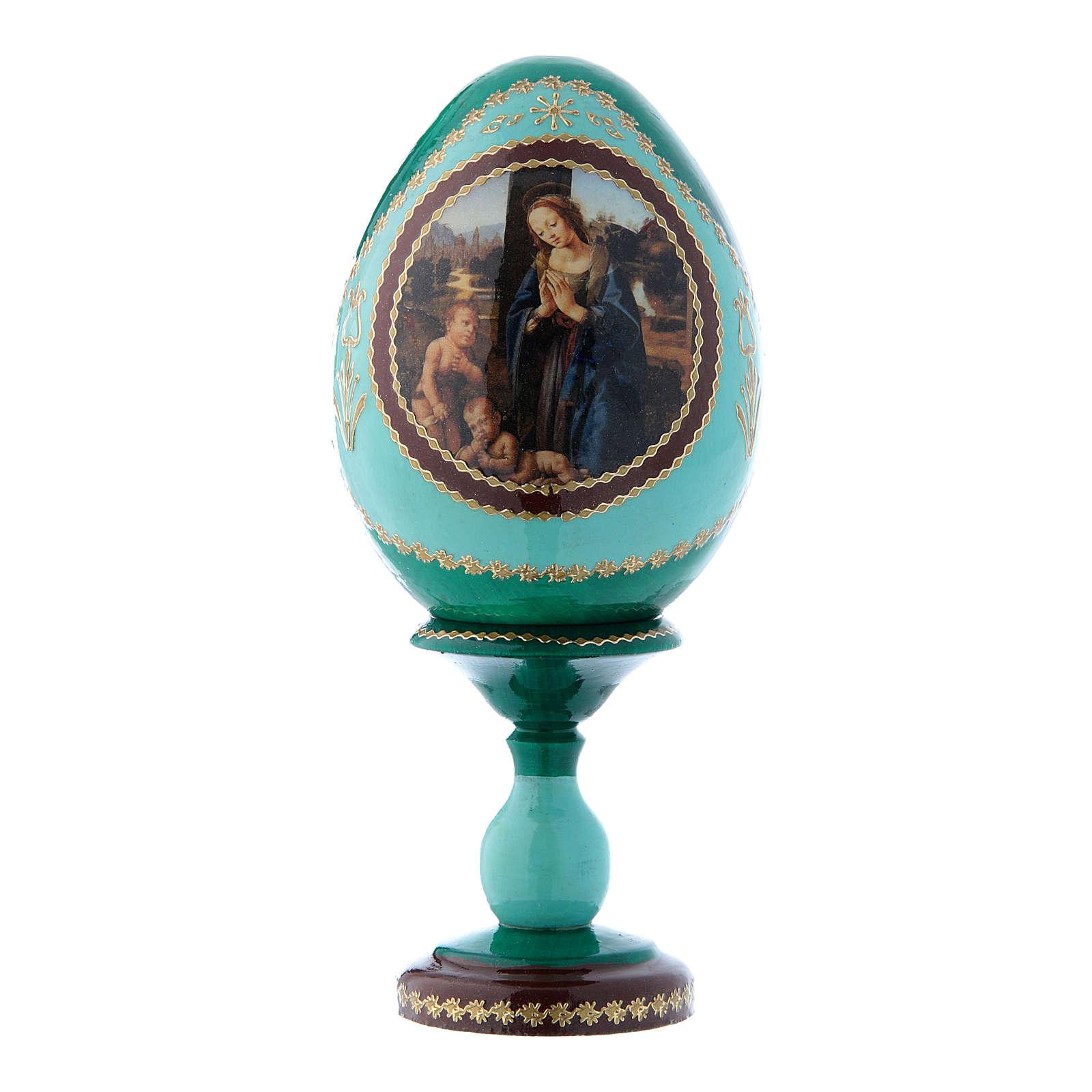 Oeuf vert en bois russe Adoration de l'Enfant avec Saint Jean-Baptiste h tot 16 cm 4