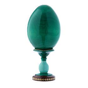 Uovo verde in legno russo Adorazione del Bambino con San Giovannino h tot 16 cm s3