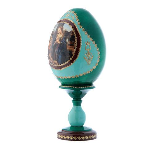 Uovo verde in legno russo Adorazione del Bambino con San Giovannino h tot 16 cm 2