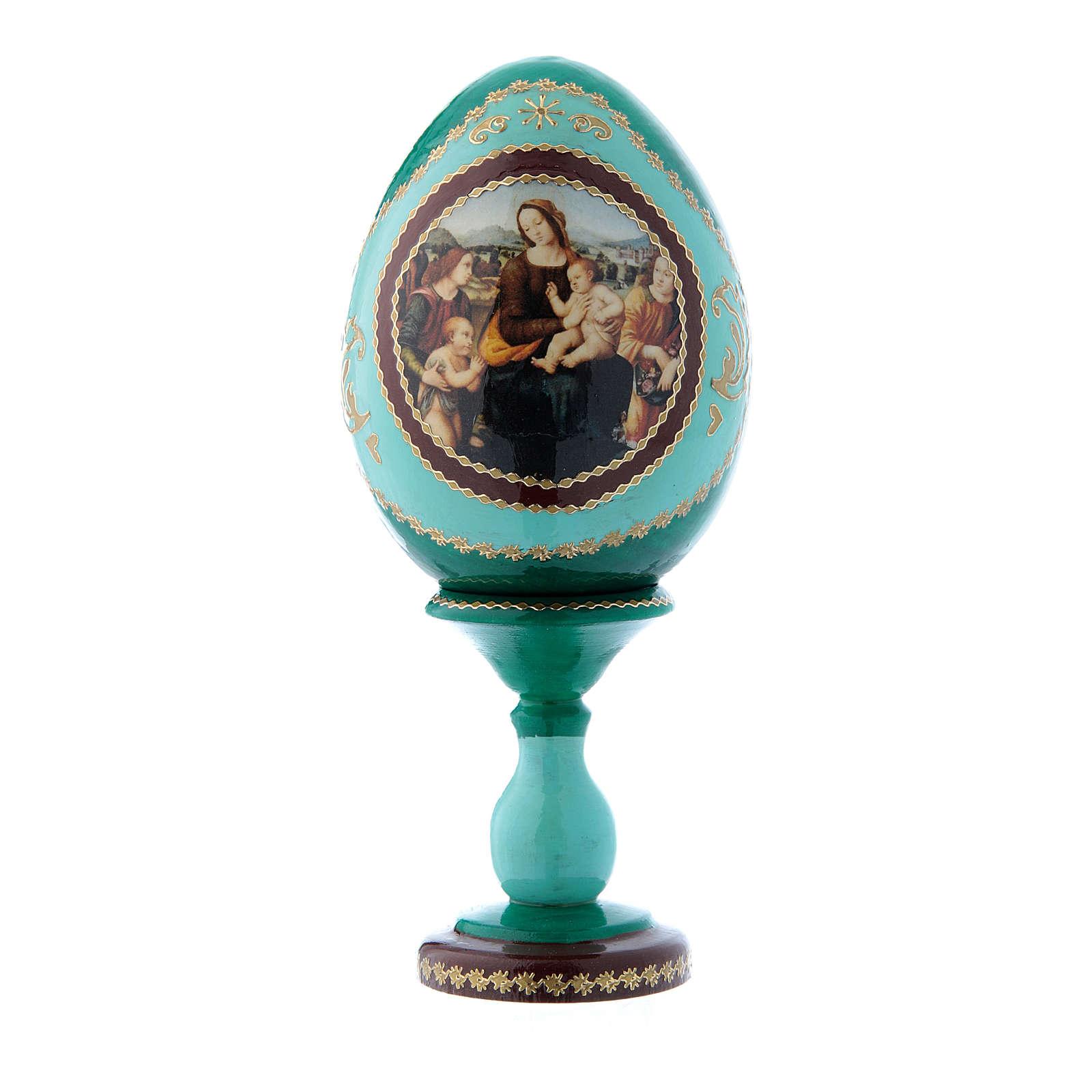Uovo icona russa stile Fabergè verde Madonna col Bambino, San Giovannino e Angeli h tot 16 cm 4