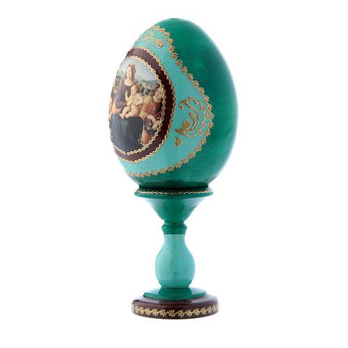Uovo icona russa stile Fabergè verde Madonna col Bambino, San Giovannino e Angeli h tot 16 cm 2