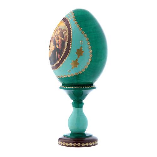 Uovo russo La Madonna della melagrana verde in legno h tot 16 cm 2