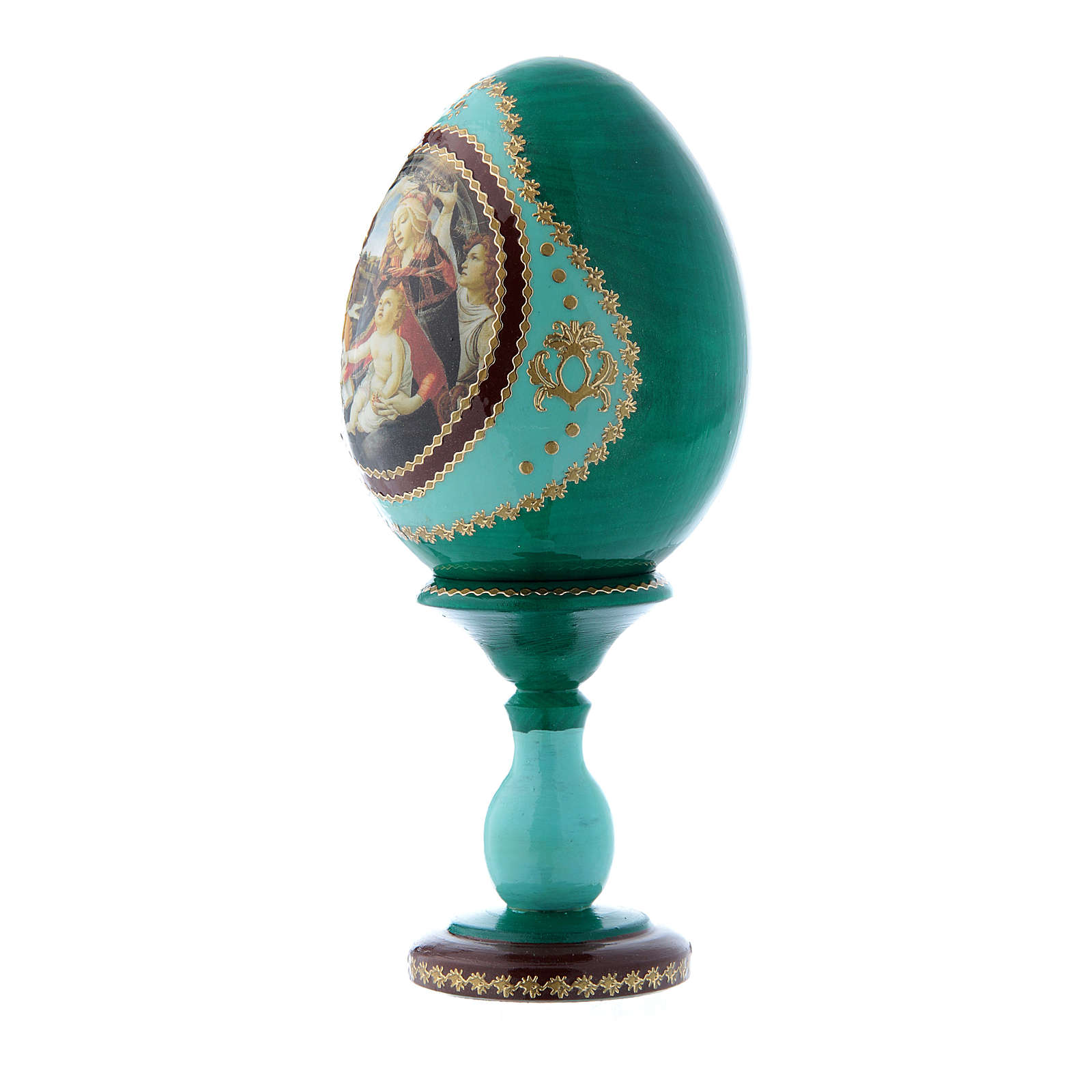 Huevo decorado a mano ruso verde La Virgen del Magnificat h tot 16 cm 4