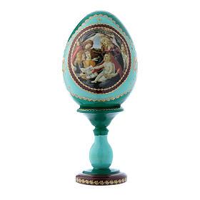 Oeuf décoré main russe vert La Madone du Magnificat h tot 16 cm s1