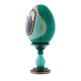 Oeuf russe vert style Fabergé La Madone du Livre h tot 16 cm s2