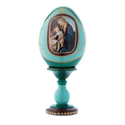 Oeuf russe vert style Fabergé La Madone du Livre h tot 16 cm 1