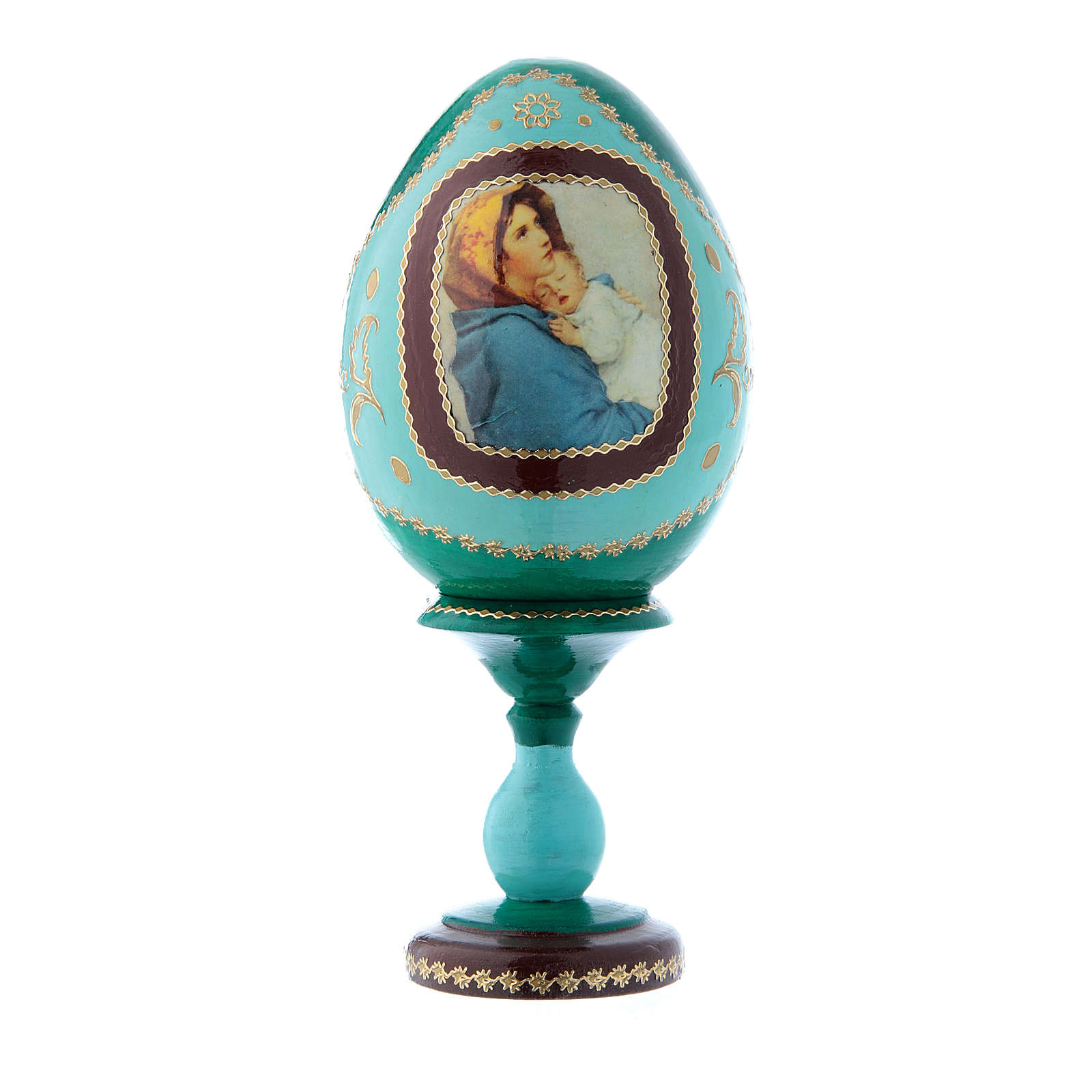 Uovo icona russa verde La Madonnina h tot 16 cm 4
