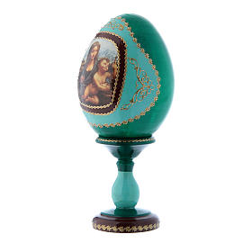 Russian Egg Madonna of the Yarnwinder, Fabergé style, green 16 cm