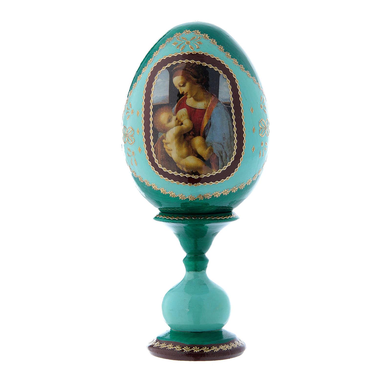 Uovo verde in legno découpage russo La Madonna Litta h tot 16 cm 4