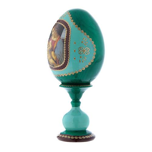 Uovo verde in legno découpage russo La Madonna Litta h tot 16 cm 2