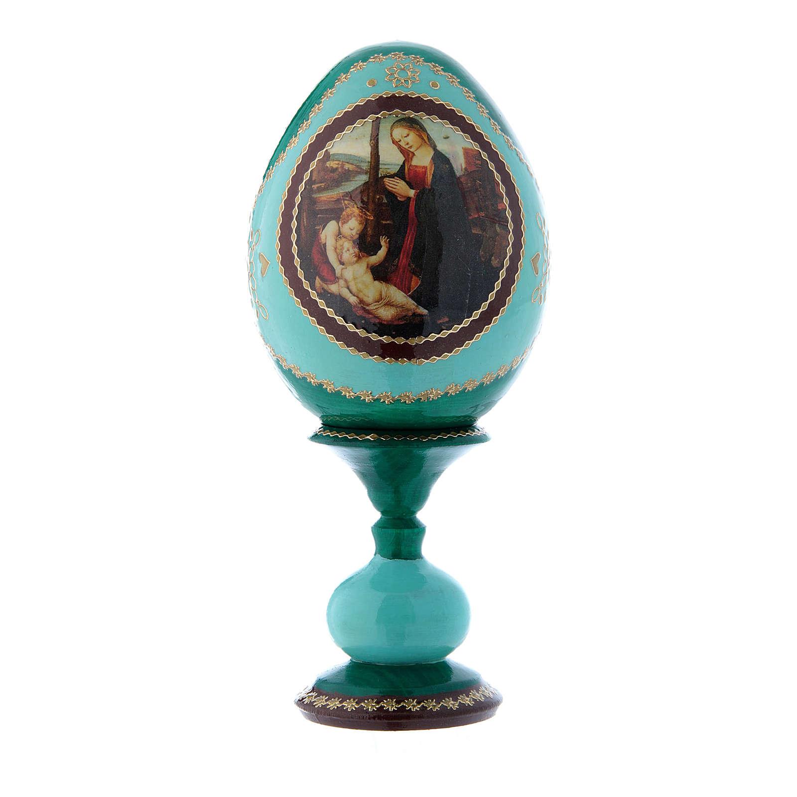 Oeuf russe Vierge à l'Enfant et Saint Jean-Baptiste vert en bois décoré main h tot 16 cm 4