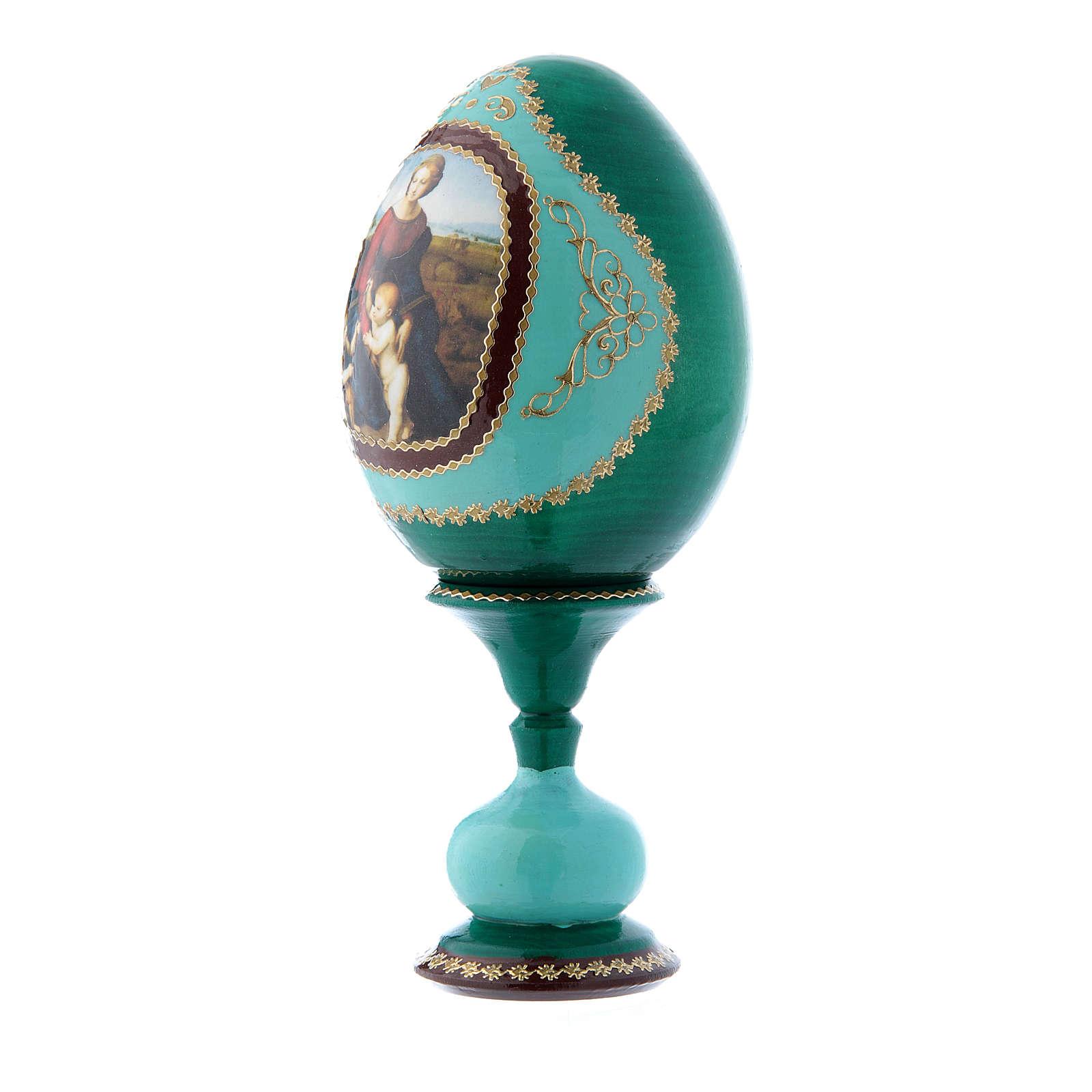 Uovo russo La Madonna del Belvedere verde decorato a mano h tot 16 cm 4