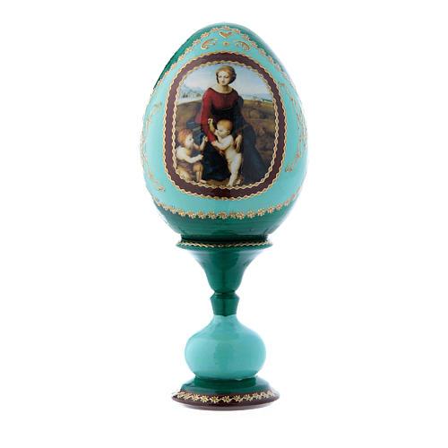 Uovo russo La Madonna del Belvedere verde decorato a mano h tot 16 cm 1