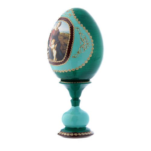 Uovo russo La Madonna del Belvedere verde decorato a mano h tot 16 cm 2