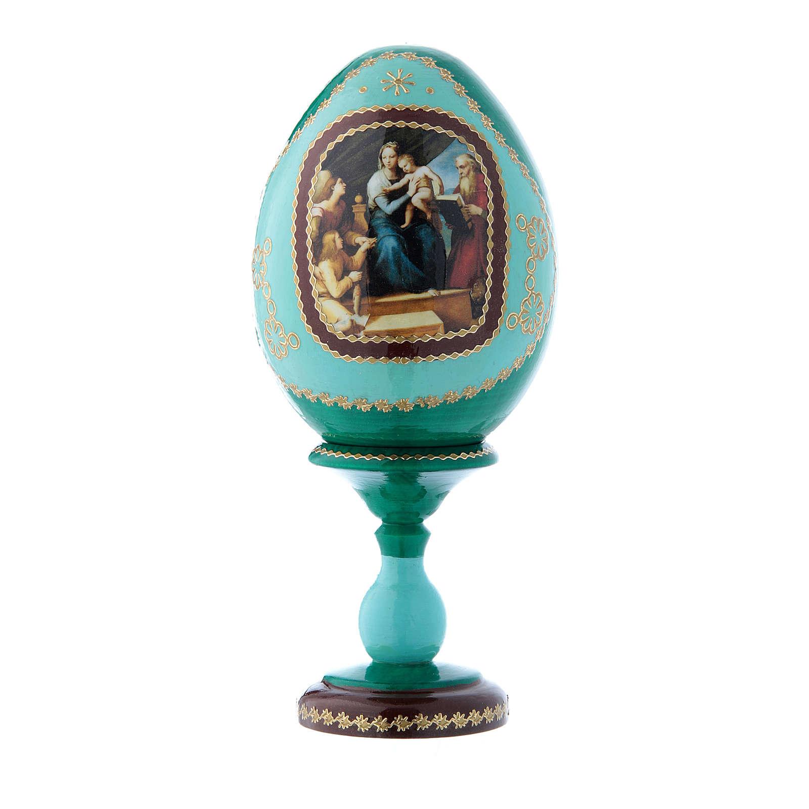 Oeuf icône russe vert décoré main La Vierge au poisson h tot 16 cm 4