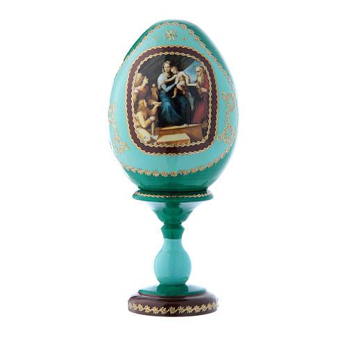 Uovo icona russa verde decorato a mano La Madonna del Pesce h tot 16 cm 1